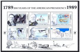 DOMINICA -1989-MINT-200 ANOS DA PRESIDÊNCIA  AMERICANA -ROOSEVELT/TAFT Mini Folha com 6 selos.