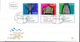 Israel - FDC - 1972 - CBC JERUSALÉM.  HANUKKA - (Alemanha -Sc 17), (Polônia - Sc 18), (Marrocos - Sc, 18/19)