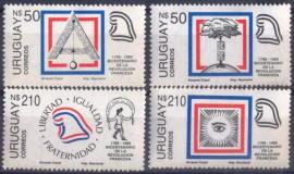 URUGUAY - 1989- SIMB. - BICENTENÁRIO DA REV. FRANCESA - MINT-  COM MARCA DE CHARNEIRA
