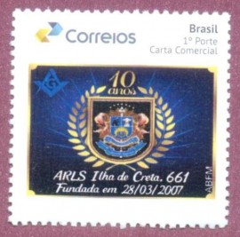 Brasil -2017-mint- 10 Aniversário da Loja Maçônica Ilha de Creta Nº 661 - São Paulo-SP