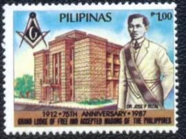 FILIPINAS -1987- MINT- 75 ANOS DA GRANDE LOJA DAS FILIPINAS -  RIZAL: FAMOSO MAÇOM.