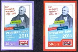 2011- Alemanha - Selo Personalizado adesivo- MINT- Homenagem ao Maçom Karl Benjamin Preusker.