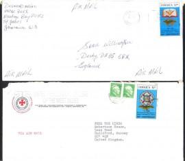 Jamaica -1992-  2 Envelopes Circulados para o Reino Unido -Selo $ 1.40/$1.10: 250 Anos da Maçonaria Inglesa na Jamaica. Obs. No envelope com o selo de $1.10, nota-se que foi retirado um selo do envelope.