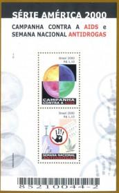 Brasil 2000 -  Campanha contra a AIDS, Semana Nacional ANTIDROGAS -NOVO