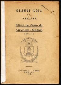 Brasil -1943 - Ritual do Grau de Aprendiz Maçom -Autenticado com selo de circulação interna-  Bom estado de conservação- Marca de Traças.