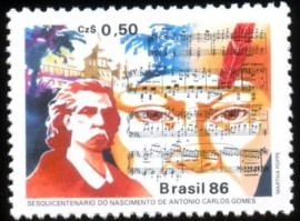 Brasil -1986-MINT - ANTONIO CARLOS GOMES - MAESTRO COMPOSITOR -  INICIADO EM  24.7.1859, NA LOJA AMIZADE, (SP).