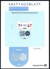 Alemanha -  2002 - 100 Anos do Muiseu Maçônico - Documento Postal de 1º Dia - CBC BONN