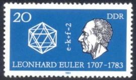 1983- DDR- homenageando Euler no 200º aniversário de sua morte. Centralizado, a fórmula do Poliedro.