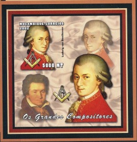 Moçambique- 2002-Homenagem a Mozart - Imperforated - MINT