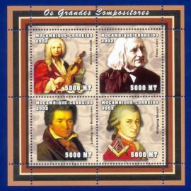 2002-MINT - Homenagem a Mozart Maçom no bloco de Grandes Compositores. Compositores/Maçonaria