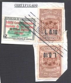 Honduras -1967-  Interior do Templo de Tagucigalpa-SURTAX: L0.10- SOBRE/FRAGMENTO COM 2 X  L 0.10 -- 1 COM CORTE.