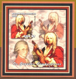 Moçambique -2002-  Vivaldi e Mozart - Grandes Compositores - MINT