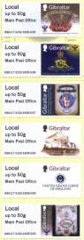 Gibraltar 2017 - Série de 6 selos MINT  250 Anos da Loja de São João-Gibraltar 100 Anos da  União de Lojas  300 Anos da Grande Loja Unida da Inglaterra