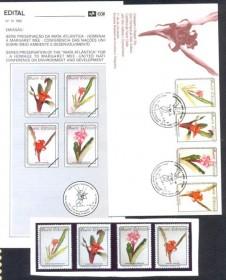 Brasil - Edital nº14 - 1992 -Preservação da Mata Atlântica  Obs. Edita+FDC+ Série de 4 selos MINT.