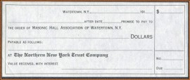 USA -191...  Ordem de Pagamento -MINT -  Associação Maçônica de Watertown - N.Y.