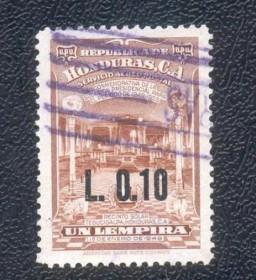 Honduras- L0.10 -1967 - Interior do Templo de Tegucigalpa