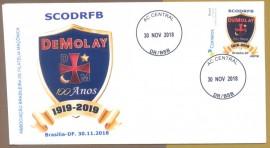 Brasil -2018 -100 ANOS DA ORDEM DEMOLAY-  Envelope Comemorativo - CD-BRASÍLIA-DF -30.11.2018 - Por ocasião da realização do CNOD/BRASÍLIA.