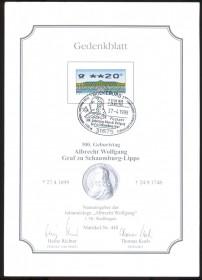 Alemanha - 300 Anos do Nascimento de Albrecht Wolfgang