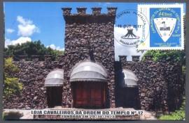 Brasil-2017- 44 Anos da Loja Cavaleiros da Ordem do Templo - Brasília-DF.  Cartão Postal - Certificado de Presença  Carimbo datador  : 19.10.2017 Lançamento  Postagem: AC Guará - 20.10.2017  Chegada: AC Taguatinga Centro- 24.10.2017