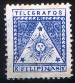 FILIPINAS - 1899 - Selo Com Inspiração Maçônica, o Sol dentro de um triângulo  e estrelas de cinco pontas..