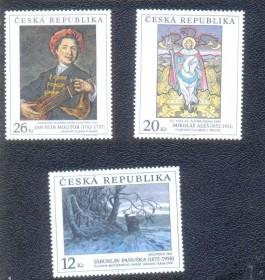 Rep. Checa- 2002 -MINT - Reprodução de quadros de pintores famosos. Mikolas Ales, Jaroslav Panuska, Jan Molitor.