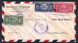 Honduras -1936 -  Envelope Circulado - Selo Templo de Tegucigalpa- 1936