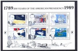 DOMINICA -1989-MINT-200 ANOS DA PRESIDÊNCIA AMERICANA - JOHNSON/FORD Mini Folha com 6 selos .