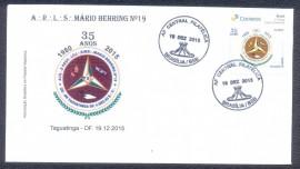 Brasil -2015-  35 ANOS DA LOJA MAÇÔNICA MÁRIO BEHRING Nº 19 - ENVELOPE COMEMORATIVO- CBD BRASÍLIA-DF.