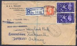 """Grã-Bretanha - 1951 Registrado para Orkney - Selo Rei Jorge VI """"Retorno a Paz""""."""