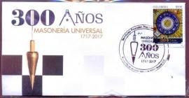 COLÔMBIA  -2017- MAÇONARIA 300 ANOS - FDC + EDITAL