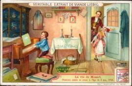 Cromos Liebig - Edição Belga - S0856 - A vida de Mozart - 1906  Explicação no verso. Imagem de  scanner.
