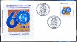 2016- ENVELOPE COMEMORATIVO CBC FLORIANÓPOLIS-SC- SELO PERSONALIZADO