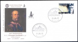 Itália-2000- Cachet : Giuseppe Garibaldi / selo: Giordano Bruno