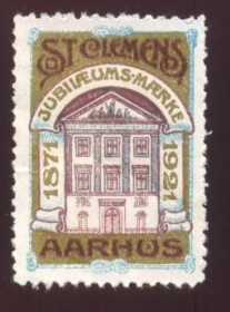 Dinamarca -  Label- 50 Anos da Loja St. Clemens (  REAA - jurisdicionada a  Grande Loja da Dinamarca , fica na cidade de Aarhus .
