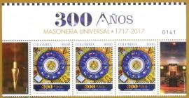 Colômbia - 2017 - MAÇONARIA 300 ANO -MINT- TIRA DE  3 COM FILIPETA