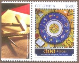 Colômbia - 2017 - MAÇONARIA 300 ANO -MINT- COM FILIPETA
