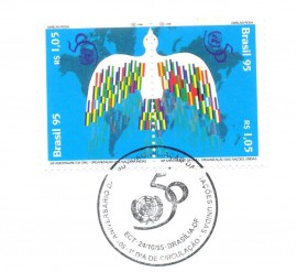 Brasília 1995-50º Aniversário da ONU- Cartela Lançamento CBC