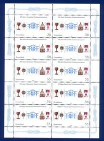 Alemanha - 2002 - 100  Anos do Museu Maçônico MINT -Linda  Folha com 10 selos, A borda da folha é  circulado com  o