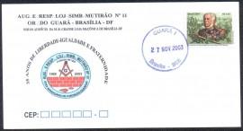 Envelope - Comemorativo aos 35 anos da Loja Maçônica Mutirão Nº 11 CD- Brasília-DF- 2003