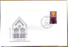Alemanha -  1988- 50 Anos da 'Noite dos Cristais' na noite entre 9 e 10 de novembro de 1938 (Reich) o regime nazista organiza os atos de violência dirigida contra os judeus .Selo: Candelabro de 7 Velas.