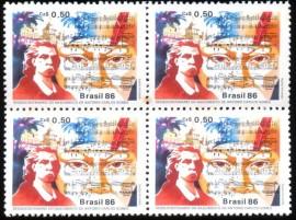 Brasil -1986-MINT -   ANTONIO CARLOS GOMES - MAESTRO COMPOSITOR - QUADRA INICIADO EM  24.7.1859, NA LOJA AMIZADE, (SP).