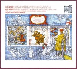 Romenia- 2004- CARIMBADP/ COM GOMA -  Gerardo Mercator-Jodocus Hondius-Américo Vespuccio 550 Anos - Desde o Nascimento de Americo Vespuccio (1454-1512)450 anos-Mercator imprime o mapa grande dAEuropa (1554)400 anos-Hondius publica o Atlas de Mercator Hondius (1604) 23º Congresso da União Postal Universal 2004 Bucareste-Ro -  Esquadro e Compasso no 1ª selo.
